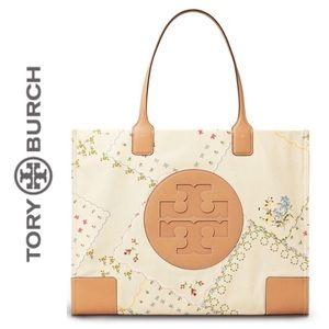 Tory Burch Ella Canvas Floral Tote Bag EUC